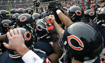 CHICAGO - DECEMBER 17:  The Chicago Bears hudle up in the endzone prior to the start of their game against the Tampa Bay Buccaneers December 17, 2006 at Soldier Field in Chicago, Illinois. The Bears won 34-31 in overtime. (Photo by Jonathan Daniel/Getty I