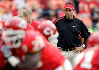 KANSAS CITY, MO - SEPTEMBER 20:  Head coach Todd Haley of the Kansas City Chiefs watches during warm-ups prior to the start of the game against the Oakland Raiders at Arrowhead Stadium on September 20, 2009 in Kansas City, Missouri.  (Photo by Jamie Squir
