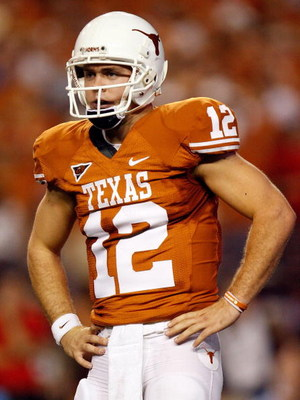 AUSTIN, TX - SEPTEMBER 19:  Quarterback Colt McCoy #12 of the Texas Longhorns at Darrell K Royal-Texas Memorial Stadium on September 19, 2009 in Austin, Texas.  (Photo by Ronald Martinez/Getty Images)