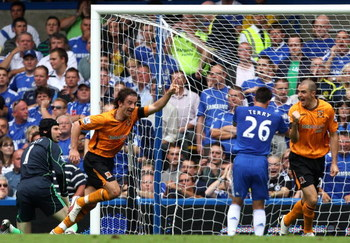 LONDON, ENGLAND - AUGUST 15:  Stephen Hunt of Hull City celebrates after scoring against Chelsea during the Barclays Premier League match between Chelsea and Hull City at Stamford Bridge on August 15, 2009 in London, England.  (Photo by Hamish Blair/Getty
