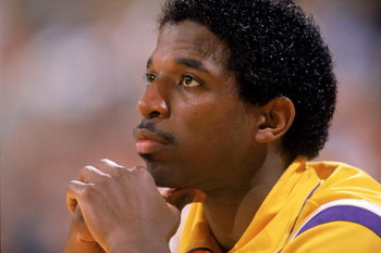 LOS ANGELES - 1988:  A.C. Green #45 of the Los Angeles Lakers sits on the bench during an NBA game at the Great Western Forum in Los Angeles, California in 1988. (Photo by: Mike Powell/Getty Images)