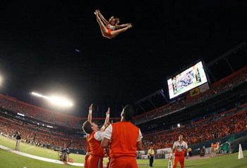 FORT LAUDERDALE, FL - SEPTEMBER 17:  Hurricane cheerleaders perform as the Miami Hurricanes take on the Georgia Tech Yellow Jackets at Land Shark Stadium on September 17, 2009 in Fort Lauderdale, Florida. Miami defeated Georgia Tech 33-17.  (Photo by Doug