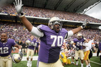 SEATTLE - SEPTEMBER 19: Offensive guard Morgan Rosborough #70 of the Washington Huskies celebrates as time expires against the USC Trojans on September 19, 2009 at Husky Stadium in Seattle, Washington. The Huskies defeated the Trojans 16-13. (Photo by Ott