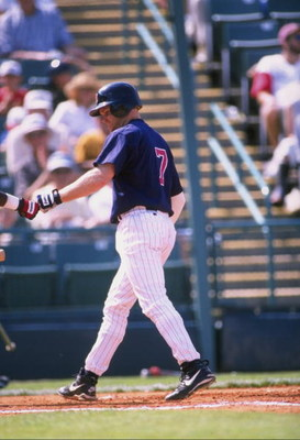 28 Feb 1998:  Infielder Dennis Hocking of the Minnesota Twins in action during a spring training game against the Cincinnati Reds at the Hammond Stadium in Fort Myers, Florida. The Reds defeated the Twins 5-4. Mandatory Credit: Craig Melvin  /Allsport