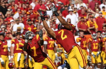 LOS ANGELES, CA - OCTOBER 11:  Defensive backs Taylor Mays #2 and Cary Harris #7 of the USC Trojans knock down a pass against the Arizona State Sun Devils on October 10, 2008 at the Los Angeles Coliseum in Los Angeles, California.  usc WON 28-0.  (Photo b