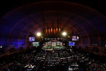 NEW YORK - APRIL 25:  General view of Radio City Music Hall which will host the 2009 NFL Draft on April 25, 2009 in New York City.  (Photo by Jeff Zelevansky/Getty Images)