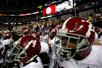 ATLANTA - SEPTEMBER 05:  The Alabama Crimson Tide enter the field to face the Virginia Tech Hokies during the Chick-fil-A Kickoff Game at Georgia Dome on September 5, 2009 in Atlanta, Georgia.  (Photo by Kevin C. Cox/Getty Images)