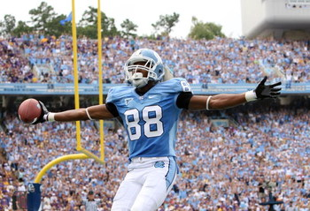 CHAPEL HILL, NC - SEPTEMBER 19:  Erik Highsmith #88 of the North Carolina Tar Heels celebrates after catching a touchdown against the East Carolina Pirates at Kenan Stadium on September 19, 2009 in Chapel Hill, North Carolina.  (Photo by Streeter Lecka/Ge