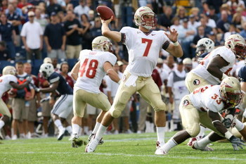 PROVO, UT - SEPTEMBER 19:  Christian Ponder #7 of Florida State Seminoles passes the ball against Brigham Young University Cougars at La Vell Edwards Stadium on September 19, 2009 in Provo, Utah.  (Photo by Melissa Majchrzak via Getty Images)