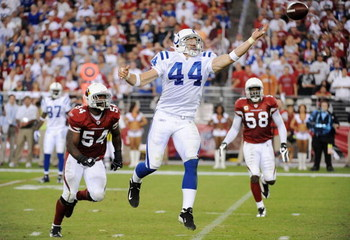 GLENDALE, AZ - SEPTEMBER 27:  Dallas Clark #44 of the Indianapolis Colts reaches for a pass in the third quarter against the Arizona Cardinals during the game at University of Phoenix Stadium on September 27, 2009 in Glendale, Arizona. (Photo by Harry How
