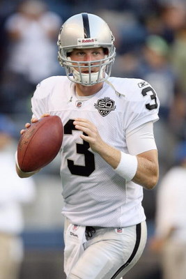 SEATTLE - SEPTEMBER 03:  Quarterback Charlie Frye #3 of the Oakland Raiders looks to pass the ball during the game against the Seattle Seahawks on September 3, 2009 at Qwest Field in Seattle, Washington. (Photo by Otto Greule Jr/Getty Images)