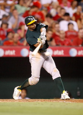 ANAHEIM, CA - AUGUST 29:  Rajai Davis #11 of the Oakland Athletics bats against the Los Angeles Angels of Anaheim at Angel Stadium on August 29, 2009 in Anaheim, California.  (Photo by Jeff Gross/Getty Images)
