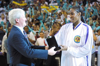 26 Aug 2001:   Lisa Leslie #9 of the Los Angeles Sparks receives the WNBA Most Valuable Player trophy from Kirk Rimsnider, Regional Divisional Marketing Manager for the Buick Motor Division prior to game two of the Western Conference Finals against the Sa