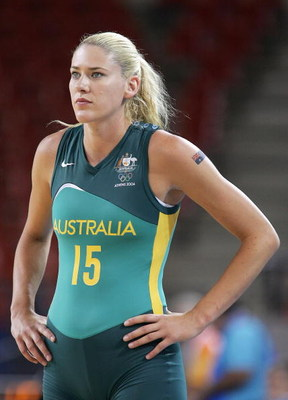 ATHENS - AUGUST 18:  Lauren Jackson #15 of Australia looks on during the women's basketball preliminary game against Japan on August 18, 2004 during the Athens 2004 Summer Olympic Games at the Indoor Arena of the Helliniko Olympic Complex in Athens, Greec