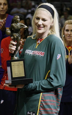 AUBURN HILLS, MI - SEPTEMBER 05: Lauren Jackson #15 of the Seattle Storm holds up her trophy after being named WNBA Most Valuable Player for 2007 prior to Game One of the WNBA Finals at the Palace of Auburn Hills on September 5, 2007 in Auburn Hills, Mich
