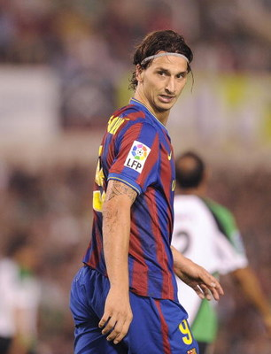 SANTANDER, SPAIN - SEPTEMBER 22:  Zlatan Ibrahimovic of Barcelona is shown during the La Liga match between Racing Santander and Barcelona at El Sardinero stadium on September 22, 2009 in Santander, Spain.  (Photo by Denis Doyle/Getty Images)