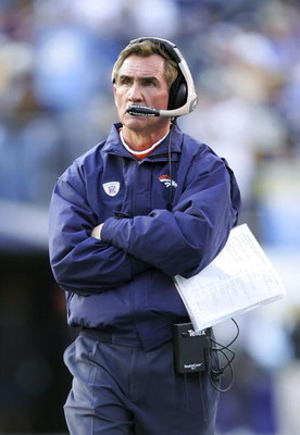 SAN DIEGO - DECEMBER 10:  Head coach Mike Shanahan of the Denver Broncos looks up at the scoreboard during the game against the San Diego Chargers December 10, 2006 at Qualcomm Stadium in San Diego, California.  The Chargers defeated the Broncos, 48-20.