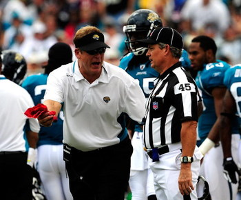 JACKSONVILLE, FL - SEPTEMBER 20:  Head coach Jack Del Rio of the Jacksonville Jaguars speaks with a line judge during the game against the Arizona Cardinals at Jacksonville Municipal Stadium on September 20, 2009 in Jacksonville, Florida.  (Photo by Sam G