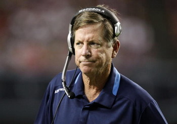 ATLANTA - AUGUST 29:  Head coach Norv Turner of the San Diego Chargers reacts to a team penalty during the game against the Atlanta Falcons at the Georgia Dome on August 29, 2009 in Atlanta, Georgia.  The Falcons beat the Chargers 27-24.  (Photo by Mike Z