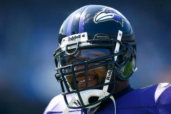 SAN DIEGO - SEPTEMBER 20:  Ray Lewis #52 of the Baltimore Ravens looks on prior to the game against the San Diego Chargers at Qualcomm Stadium on September 20, 2009 in San Diego, California.  (Photo by Jeff Gross/Getty Images)