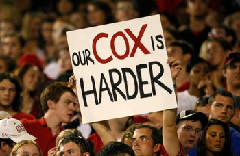 ATHENS, GA - SEPTEMBER 12:  A fan of the Georgia Bulldogs holds up a sign about quarterback Joe Cox #14 (not pictured) during the game against the South Carolina Gamecocks at Sanford Stadium on September 12, 2009 in Athens, Georgia.  (Photo by Kevin C. Co