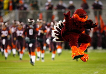 BLACKSBURG, VA - OCTOBER 25:  The mascot of the Virginia Tech Hokies leads the team onto the field to face the Boston College Eagles at Lane Stadium October 25, 2007 in Blacksburg, Virginia.  (Photo by Kevin C. Cox/Getty Images)