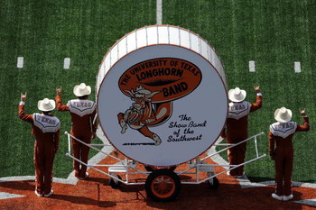 AUSTIN, TX - SEPTEMBER 26:  The University of Texas Longhorn band performs before a game against the UTEP Miners at Darrell K Royal-Texas Memorial Stadium on September 26, 2009 in Austin, Texas.  (Photo by Ronald Martinez/Getty Images)