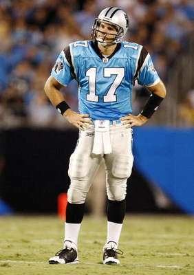 CHARLOTTE, NC - AUGUST 29: Quarterback Jake Delhomme #17 of the Carolina Panthers stands on the field during their game against the Baltimore Ravens at Bank of America Stadium on August 29, 2009 in Charlotte, North Carolina. (Photo by Streeter Lecka/Getty