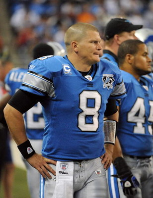 DETROIT - OCTOBER 05:  Jon Kitna #8 of the Detroit Lions watches from the sidelines after he is replaced by Dan Orlovsky during the third quarter at Ford Field on October 5, 2008 in Detroit, Michigan.  The Bears won 34-7.  (Photo by Harry How/Getty Images