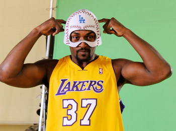 EL SEGUNDO, CA - SEPTEMBER 29: Ron Artest #37 of the Los Angeles Lakers hwears a mask while taping a public announcement for the Los Angeles Dodgers during Lakers media day at the Lakers training facility on September 29, 2009 in El Segundo, California. N