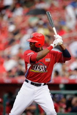 ST. LOUIS, MO - JULY 12: U.S. Futures All-Star Jason Heyward of the Atlanta Braves steps to the plate during the 2009 XM All-Star Futures Game at Busch Stadium on July 12, 2009 in St. Louis, Missouri. (Photo by Jamie Squire/Getty Images)