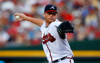 ATLANTA - AUGUST 22:  Starting pitcher Tommy Hanson #48 of the Atlanta Braves pitches to the Florida Marlins on August 22, 2009 at Turner Field in Atlanta, Georgia.  (Photo by Kevin C. Cox/Getty Images)