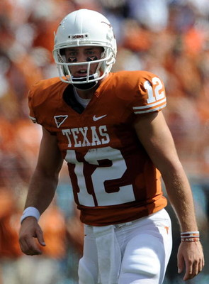 AUSTIN, TX - SEPTEMBER 26:  Quarterback Colt McCoy #12 of the Texas Longhorns at Darrell K Royal-Texas Memorial Stadium on September 26, 2009 in Austin, Texas.  (Photo by Ronald Martinez/Getty Images)