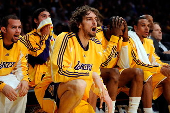 LOS ANGELES, CA - MAY 19:  (M) Pau Gasol #16 of the Los Angeles Lakers yells from the bench in the fourth quarter against the Denver Nuggets in Game One of the Western Conference Finals during the 2009 NBA Playoffs at Staples Center on May 19, 2009 in Los