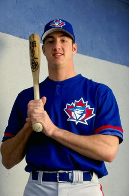 24 Feb 1999: Catcher Josh Phelps #64 of the Toronto Blue Jays poses for the camera on Photo Day during Spring Training at Grant Field in Dunedin, Florida.