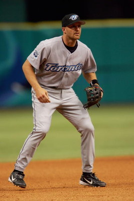 ST. PETERSBURG, FL - APRIL 4:  Corey Koskie #47 of the Toronto Blue Jays stands on the field during the game with the Tampa Bay Devil Rays at the Tropicana Field home opener at on April 4, 2005 St. Petersburg, Florida. (Photo by Nick Laham/Getty Images).