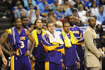 ORLANDO, FL - JUNE 14:  The Los Angeles Lakers bench players watch from the sideline during Game Five of the 2009 NBA Finals against the Orlando Magic on June 14, 2009 at Amway Arena in Orlando, Florida. The Lakers won 99-86.  NOTE TO USER:  User expressl