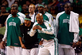 BOSTON - JUNE 17:  The Boston Celtics bench celebrates in the fourth quarter of Game Six of the 2008 NBA Finals  against the Los Angeles Lakers on June 17, 2008 at TD Banknorth Garden in Boston, Massachusetts. NOTE TO USER: User expressly acknowledges and