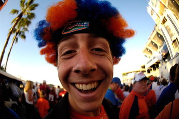 MIAMI - JANUARY 08:  A fan of the Florida Gators stands outside the stadium prior to the FedEx BCS National Championship game against the Oklahoma Sooners at Dolphin Stadium on January 8, 2009 in Miami, Florida.  (Photo by Marc Serota/Getty Images)