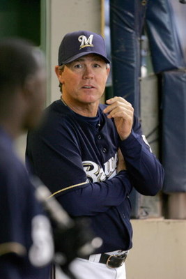 MILWAUKEE - MAY 29: Manager Ned Yost #3 of the Milwaukee Brewers watches as his team takes on the Atlanta Braves on May 29, 2008 at Miller Park in Milwaukee, Wisconsin. The Braves defeated the Brewers 8-1. (Photo by Jonathan Daniel/Getty Images)