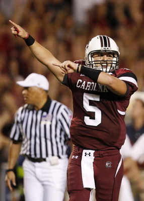 COLUMBIA, SC - SEPTEMBER 24:  Quarterback Stephen Garcia #5 of the South Carolina Gamecocks celebrates after throwing a touchdown pass in the third quarter of their game against the Mississippi Rebels at Williams-Brice Stadium on September 24, 2009 in Col