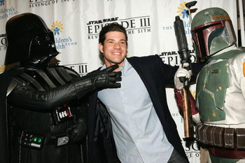 NEW YORK - MAY 12:  Cody Franchetti poses with Darth Vader and Boba Fett at the premiere of 'Star Wars: Episode III Revenge Of The Sith', at the Ziegfeld Theater on May 12, 2005 in New York City. (Photo by Paul Hawthorne/Getty Images)