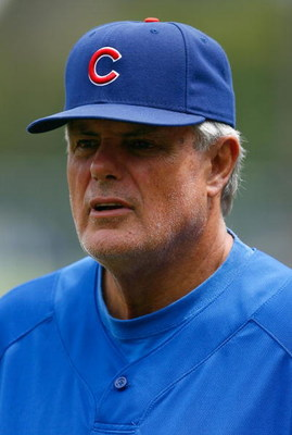 LOS ANGELES, CA - AUGUST 22:  Chicago Cubs manager Lou Piniella looks on during batting practice prior to the game against the Los Angeles Dodgers at Dodger Stadium on August 22, 2009 in Los Angeles, California. The Dodgers defeated the Cubs 2-0.  (Photo