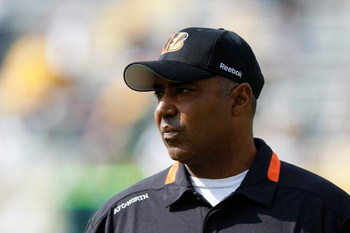 GREEN BAY, WI - SEPTEMBER 20: Head coach Marvin Lewis of the Cincinnati Bengals watches the action on the field from the sidelines against the Green Bay Packers at Lambeau Field on September 20, 2009 in Green Bay, Wisconsin. The Bengals defeated the Packe