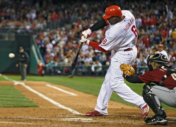 PHILADELPHIA - SEPTEMBER 30: Ryan Howard #6 of the Philadelphia Phillies hits an RBI single in the fourth inning during the game against the Houston Astros at the Citizens Bank Park on September 30, 2009 in Philadelphia, Pennsylvania. (Photo by Drew Hallo
