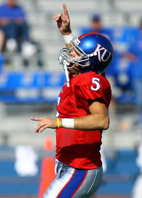 LAWRENCE, KS - SEPTEMBER 26:  Quarterback Todd Reesing #5 of the Kansas Jayhawks reacts during warm-ups just prior to the start of the game against the Southern Mississippi Golden Eagles on September 26, 2009 at Memorial Stadium in Lawrence, Kansas.  (Pho