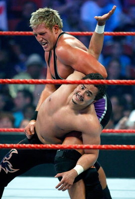 LAS VEGAS - AUGUST 24:  Wrestlers Jack Swagger (top) and Primo compete during the WWE Monday Night Raw show at the Thomas & Mack Center August 24, 2009 in Las Vegas, Nevada.  (Photo by Ethan Miller/Getty Images)