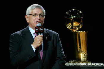 SAN ANTONIO - OCTOBER 30:  NBA Commissioner David Stern talks to the crowd during the ring ceremony for the San Antonio Spurs before the take on the Portland Trail Blazers on October 30, 2007 at AT&T Center in San Antonio, Texas.  NOTE TO USER: User expre