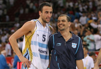 BEIJING - AUGUST 20:  Manu Ginobili #5 of Argentina and head coach Sergio Santos Hernandez embrace after winning the men's basketball quarterfinal game 80-78 over Greece at the Olympic Basketball Gymnasium during Day 12 of the Beijing 2008 Olympic Games o