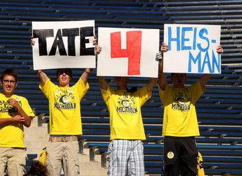 ANN ARBOR, MI - SEPTEMBER 19:  Fans of quarterback Tate Forcier #5 of the Michigan Wolverines hold signs promoting him before the game against the Eastern Michigan Eagles at Michigan Stadium on September 19, 2009 in Ann Arbor, Michigan.   Michigan won 45-